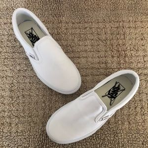 Vans White Canvas Slip On Shoes